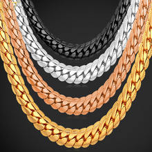 U7 2016 Hot Hot Christmas Gifts Jewelry Classic Long Snake Chain Necklace Men Wholesale 6 MM Width 81CM Yellow Gold Plated Chain Necklace Fashion N308(China)