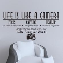 2017 2016 New Letter Creative Desk PVC Life Is Like A Camera Wall Sticker Vinyl Room Wall Decal Home Decor Aug 19