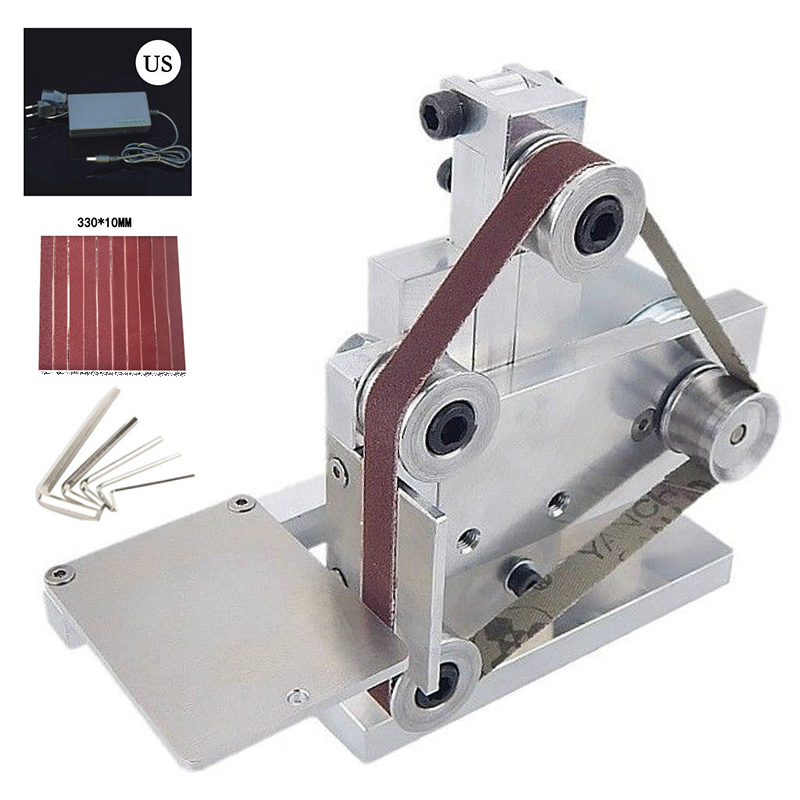 Mayitr DIY Mini Belt Sander Bench Mount Grinder Polishing Grinding Machine Buffer Electric Angle Grinder For Wood Plastic Metal