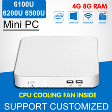 Intel Core CPU i3 6100U Mini PC Cooling Fan Computer Desktop Mini Windows 7 i5 6200U i7 6500U Intel 6Gen HD Graphics 620 4K HTPC(China)