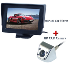 Promotion 4.3 inch HD 800*480 Rear View Mirror Monitor+ SONY CCD Car rear view camera for all cars waterproof night version(China)