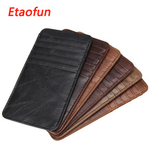 Buy Etaofun brand 100% geniune cow leather card holders Business credit card cover men's Rfid bank cards wallets slim designer purse for $13.00 in AliExpress store