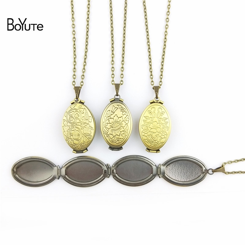 BoYuTe 1 Piece 70CM Chain 2033MM Oval Floating Locket Necklace Can Insert Photo Locket Pendant Necklace (1)
