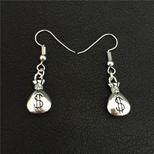 New Women Vintage Simple Symbol of Wealth Antique Silver Lucky Metal Dollar Purse Money Bag Charms Pendant Earrings Punk Jewelry