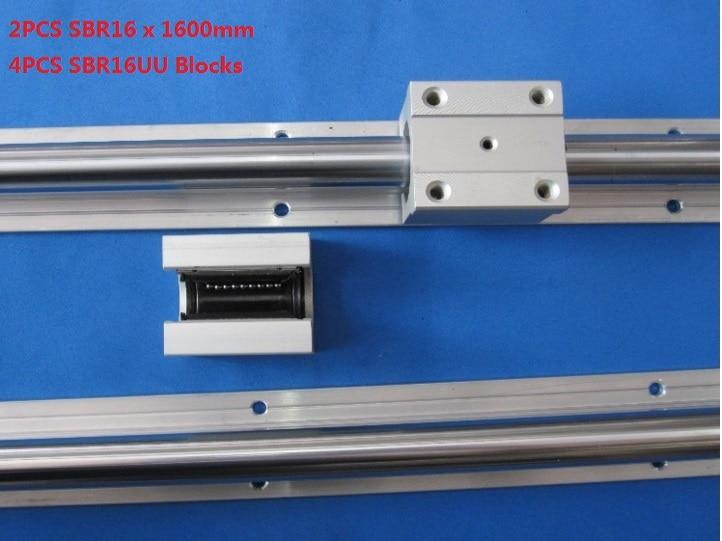 2pcs SBR16-1600mm support rail linear guide+4pcs SBR16UU linear blocks for cnc router<br>