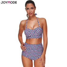 Buy JOYMODE 2017 Newest Design High Waist Halter Neck Printed Women Swimwear Swimsuit Push Sexy Bikini Set Plus Size Bathing Suit