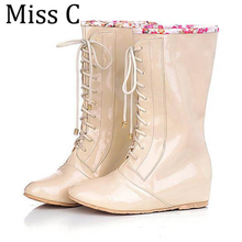 2017 Height Increasing Flowers Women Rainboots Fashion Solid Patent Leather Women Shoes Lace Up Ladies Boots Sizes 34~43 WBS512