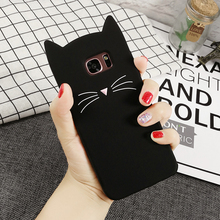 Fashion Silicone Cartoon Case For Samsung Galaxy S5 S6 S7 Edge S8 Plus A3 A5 A7 2017 J3 J5 J7 Prime Note 8 5 4 Beard Cat Cover(China)