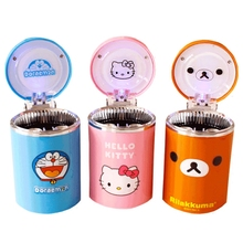 Cartoon Car ashtray with LED Hello Kitty KT Accessories for Girls Boy Car Ash Tray Ashtray Storage Cup Holder Gifts Accessories(China)