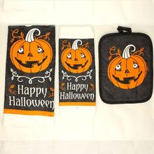 Halloween Pumpkin head  Printing Personalized placemats coasters cotton towel cloth Gift Set Three-piece set