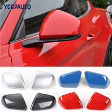 Car Styling For Ford Mustang US Version 2015 Up Rear View Mirror Cover Carbon Fiber Gloss Black Red Silver Decorative Frame