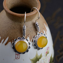 Natural Yellow Chalcedony Earring 925 Sterling Silver Earing Women S925 Thai Silver boucle d'oreille Drop Earrings