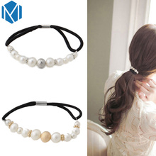 Korea Women Simulated Pearls Elastic Rubber Band Female Hair Rope Headwear Hair Accessories Girls Beads Scrunchy Ponytail Holder(China)