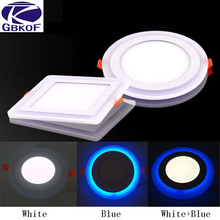 Hot sell 6w 9w 16w 24w round square led Ceiling Recessed panel Light Painel lamp home decoration Blue+White led panel downlight(China)
