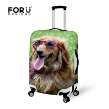 FORUDESIGNS Dustproof Covers 18-28 inch Animal Dogs Printing Travel Luggage Protector Elastic Suitcase Cover Luggage Accessories