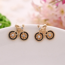 Atreus Brand Latest Chic Fashion Trendy Jewelry for woman Cute Bike Model Design Love Bicycle stud Earrings boucles d'oreilles(China)