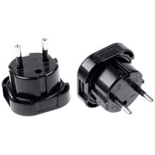 10PCS/LOT Universal Travel Adapter UK to EU Euro Plug AC Power Charger Adapter Converter Socket Black Free shipping