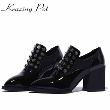 Buy 2017 shoes women rivets metal solid color decoration high heels pointed toe genuine patent leather handmade slip shoes L96 for $50.49 in AliExpress store