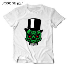 2017 Newest Brand Clothing Men 100% Cotton T-Shirt Funny Magician Glasses Skull Print T Shirt Short Sleeve Hip Hop Tee Cool Tops