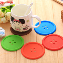 5pcs/1 set Creative Household Supplies Round Silicone Mat Coasters Cute Button Coasters Cup Mat
