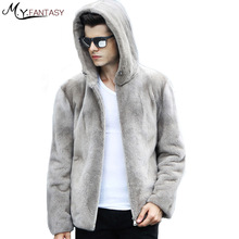 M.Y.FANSTY 2017 Winter Stand Collar Long Sleeve Mink Coat Zipper Pure Grey Real Fur Warm Cool Man With Hat Handsome Mink Coats(China)