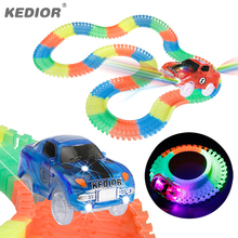 Car Race Track Hot Wheels Bend Flex Glow in the Dark DIY Assembly Toy Plastic Race Track Toy Car with 5 LED Flashing Lights(China)