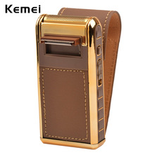 220-240V 2 in 1 KEMEI Electric Reciprocating Shaver Razor Vintage Leather Wrapped Portable Men's Shaver Beard Trimmer Clipper394