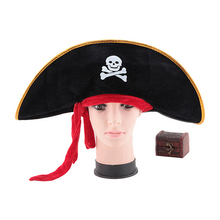 1PC Fashion Pirate Captain Hat Skull Crossbone Cap Costume Fancy Dress Party Halloween Hats Decoration Gift(China)