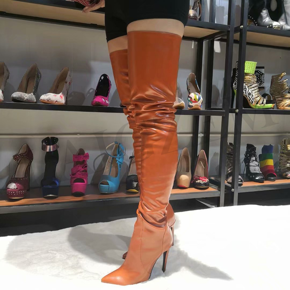 LAIGZEM SEXY Women Over the Knee Boots Stiletto High Heels Pointy Toe Boots Zipper Shoes Woman Botines Mujer Big Size 4-14 (3)