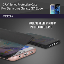 For Samsung Galaxy S7 Edge Case Cover Rock Dr.V Series Luxury View Full Window Smart Flip Cases For Samsung Galaxy S7/S7 Edge
