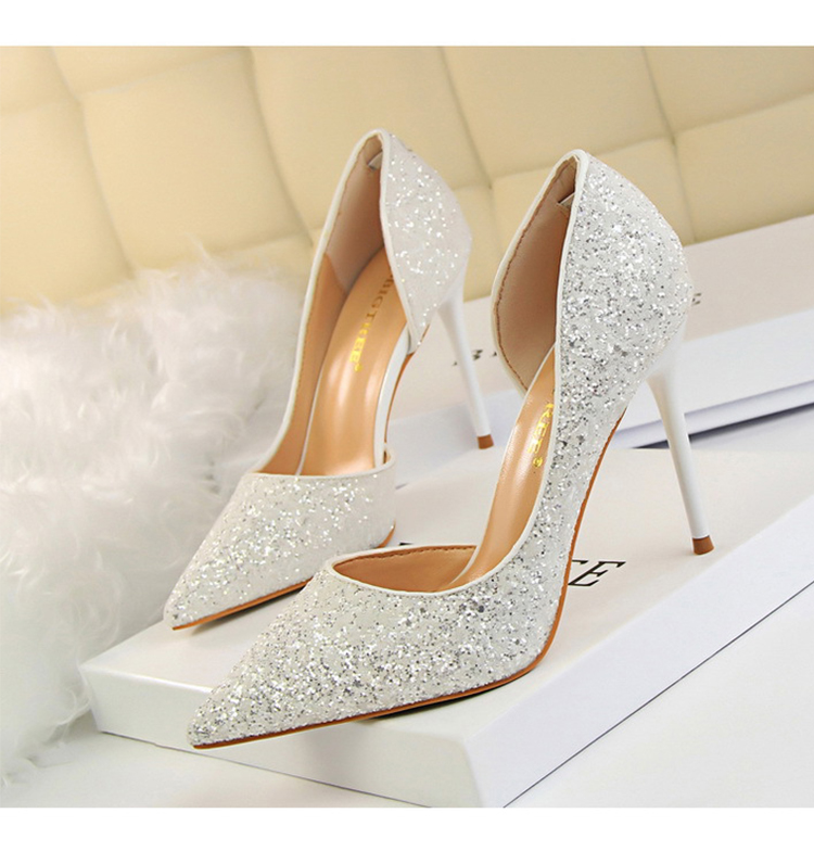 Women Pumps Sexy Glisten Women Shoes Wedding Party Dress Heels Women Hollow Shallow Mouth High Heels Stiletto 868-8 11