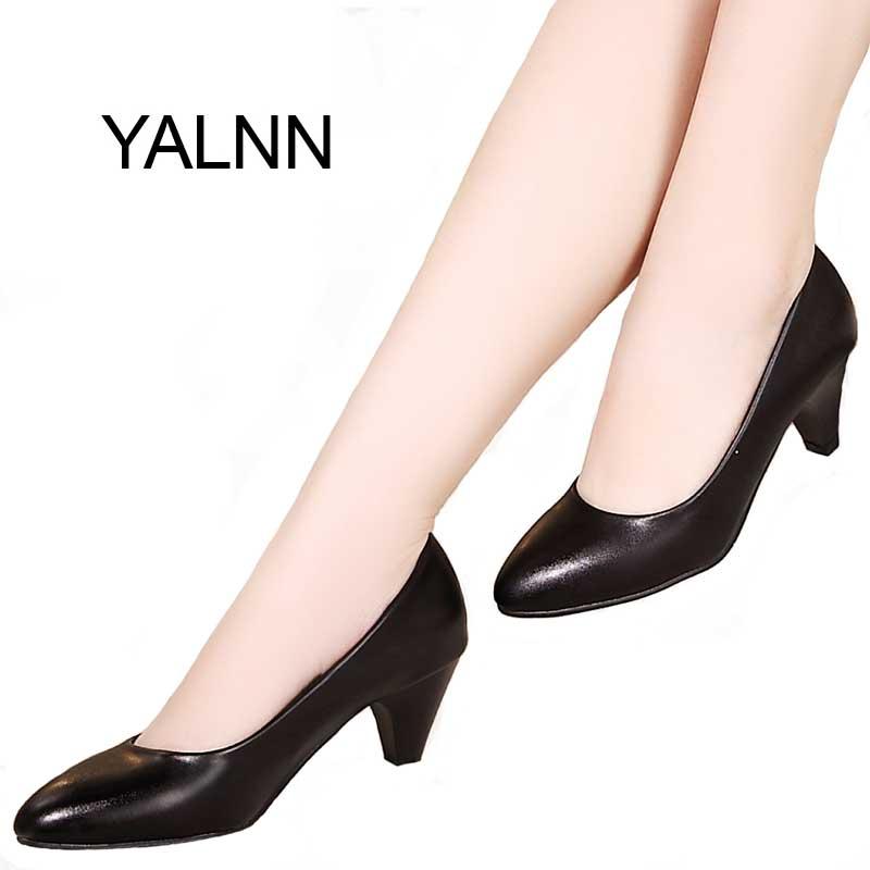 YALNN Black Women Shoes Pumps Ladies Medium Heel Nude Sexy High Heels Weeding Shoes Women Office White Pumps for Girls<br><br>Aliexpress