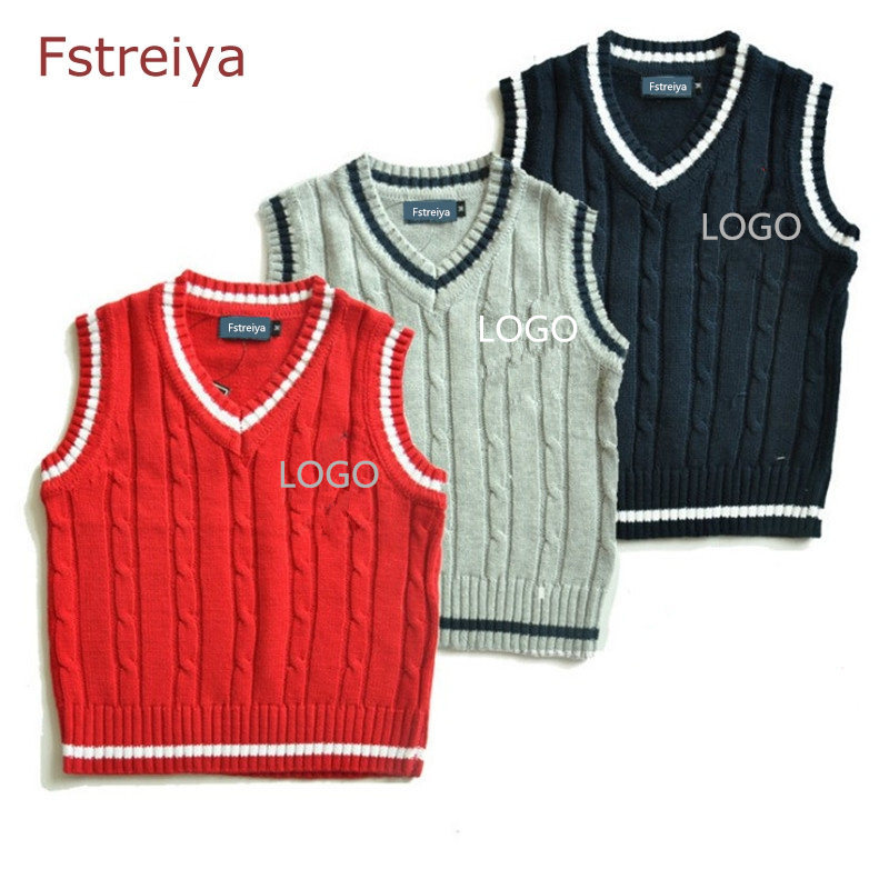 Boys sweater vest for winter Baby boy clothes for spring/autumn Children V-neck knitwear kids pullover clothing boys top<br>