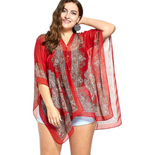 e9555bed2dec1 Wipalo Plus Size Printed Beaded Plus Size Chiffon Poncho Top Fashion Casual  Women Summer Style Women