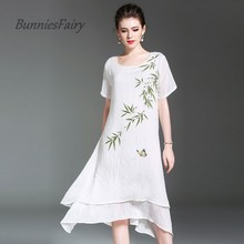BunniesFairy 2017 Summer Bamboo Lotus Print Sleeveless Cotton Linen Long Dress Women Clothing Plus Size Vestidos Loose dresses