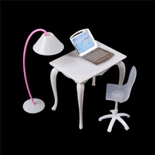 2017 Cute Dollhouse Miniature Doll Furniture Chair Study Desk/Computer PC Table With Lamp Children Toy Girl Play House(China)