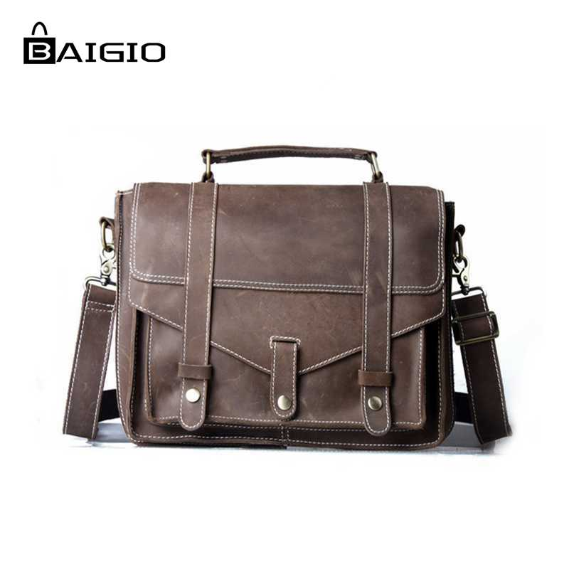 Baigio Men Leather Briefcase 14 inch Laptop Bag Vintage Brown Tote Handbag Brand Designer Leather Men Messenger Shoulder Bags<br><br>Aliexpress