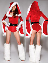 2015 Hot Sale Hooded Jumpsuit Bodysuit Xmas Dress Sexy Adult Women Christmas Party Cosplay Costume Miss Santa Claus Clothes