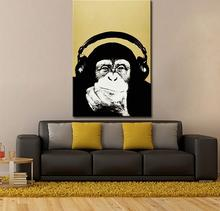 Andy warhol music monkey wall pictures creative oil painting canvas top idea decor wall art for wall painting(China)