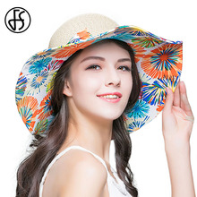 FS Big Beach Straw Hats For Women 2017 Summer Fashion Floral Print Sun Hat Large Wide Brim Floppy Sombreros Korean Style(China)