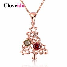 Uloveido Rose Gold Color Christmas Tree Necklaces & Pendants Women Fashion Necklace Christmas Gifts Black Friday 2017 PN1206(China)