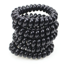 Big Size 5 CM Hair Scrunchie Black Telephone Wire Elastic Band Rope Hair Ring Spiral Rubber Band Hairband Lot 5Pcs(China)