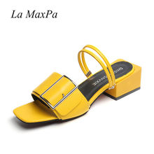 La MaxPa Fashion Party Slippers Women Summer Shoes Yellow Black White  Buckle Chunky Heel Ladies Slides Female Sandals Shoes 3af2098906c8