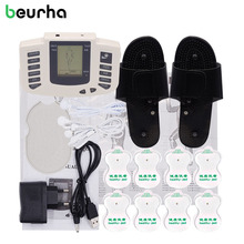 Beurha Electrical Muscle Stimulator Russian button Therapy Massager Pulse Tens Acupuncture Full Body Massage Relax Care 16 pads(China)