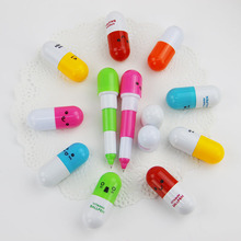 6PCS Smiling Face Pill Ballpoint Pen Lovely Novelty Stationery Telescopic Vitamin Capsule Ball Pens Student Learning Supplies