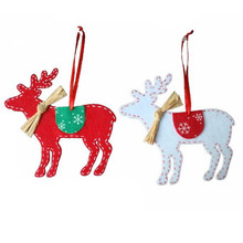 2 PCS Deer Hanging Pendant Christmas Trees Decoration Red White Non-woven Fabric Xmas Ornaments arvores de natal enfeites