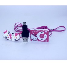 2016 fashion Hello Kitty MP3 Music Player Support Micro TF Card With Hello Kitty Earphone&Mini USB