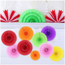 14 Colors Paper Folding Fan Paper Flowers 2017 European Fashion Folding Flowers Wedding Decoration Event&Party Supplies 7D