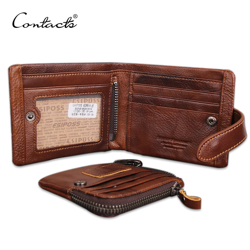 CONTACTS Classical Men Wallets Genuine Leather Short Wallet Fashion Zipper Brand Purse Card Holder Wallet Man With Coin Bag<br><br>Aliexpress