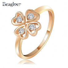 Heart Shape Four Leaf Clover Ring Gold Color Genuine SWA Elements Austrian Crystal Small Ring Ri-HQ1054-C